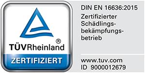 TÜV Rheinland: zertifizierter Schädlingsbekämpfungsbetrieb nach DIN EN 16636:2015